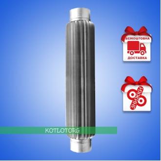Труба-радиатор дымоходная одностенная из нержавейки 1м (0,8мм)
