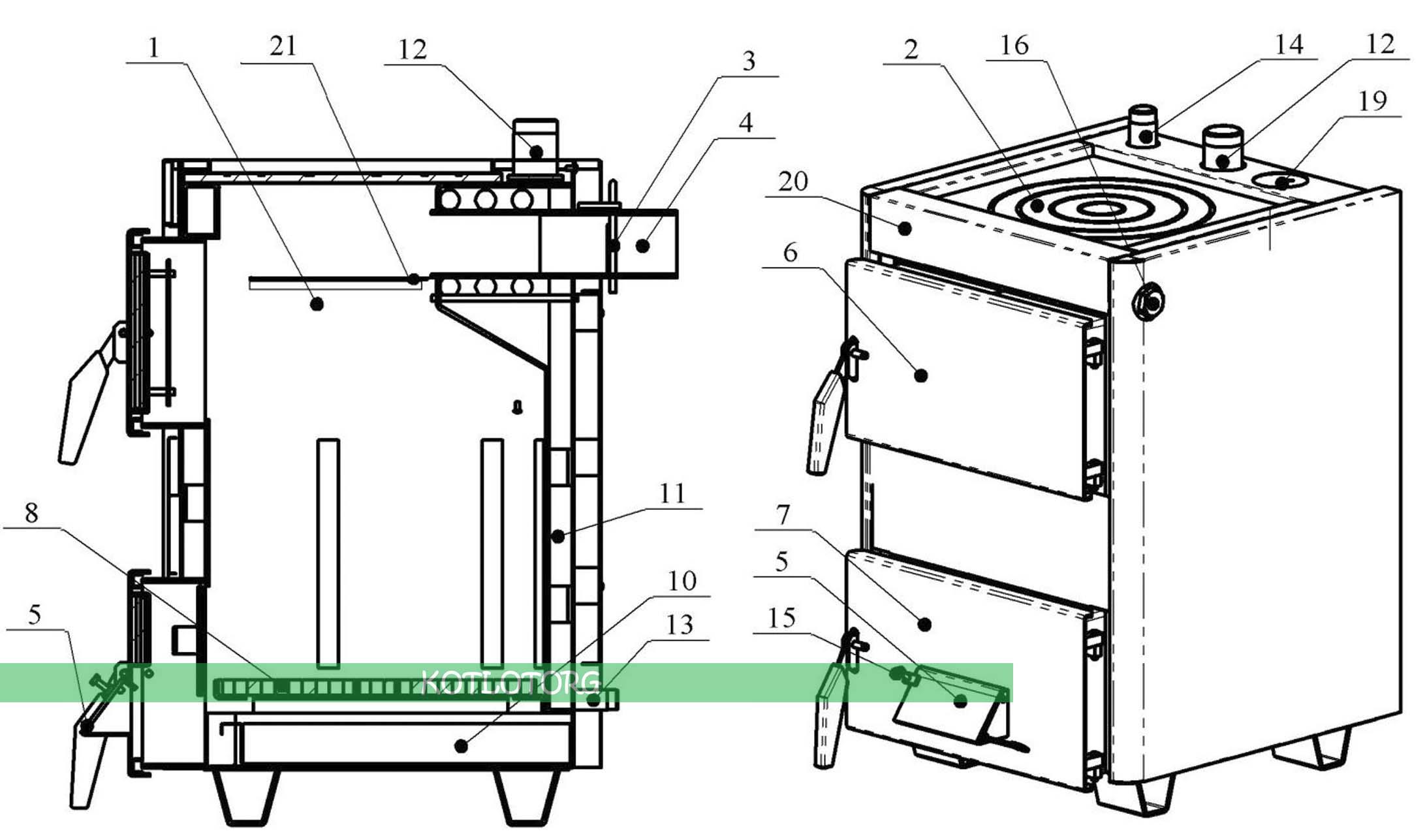 Котел-плита проскуров 14 кВт в разрезе