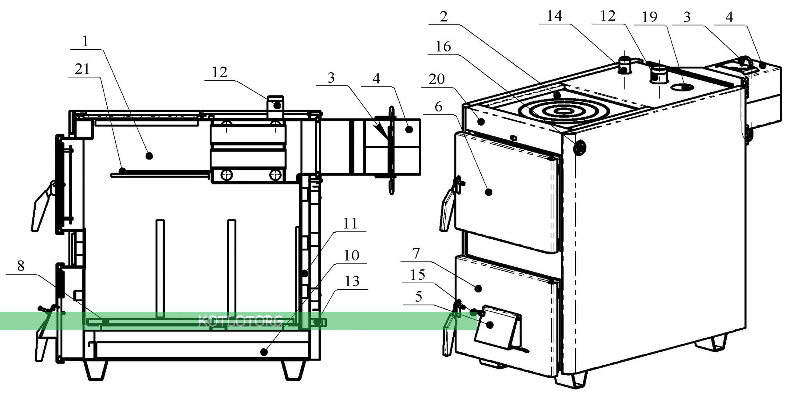 Котел-плита проскуров 18-25 кВт в разрезе