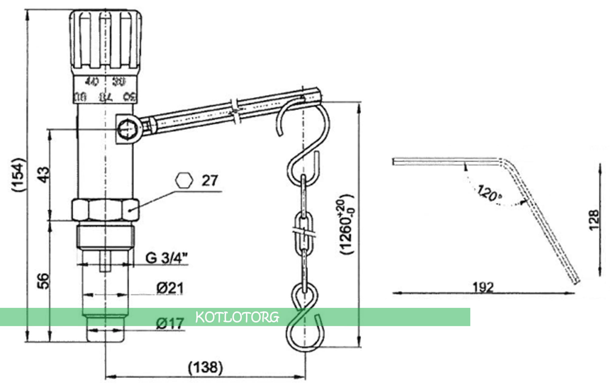 Схема и габаритные размеры механического регулятора тяги Regulus RT4
