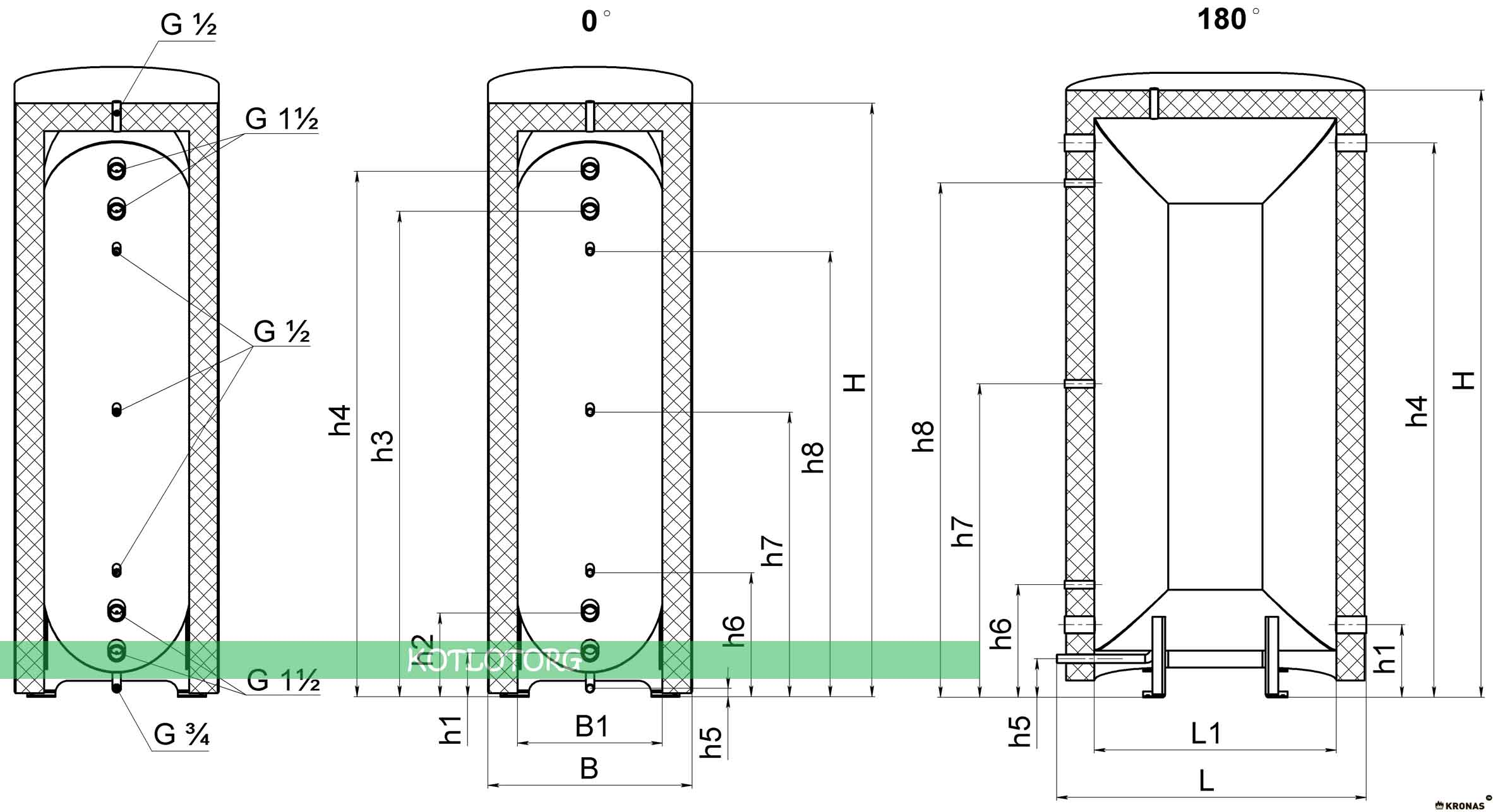 Схема плоского теплоаккумулятора Кронас