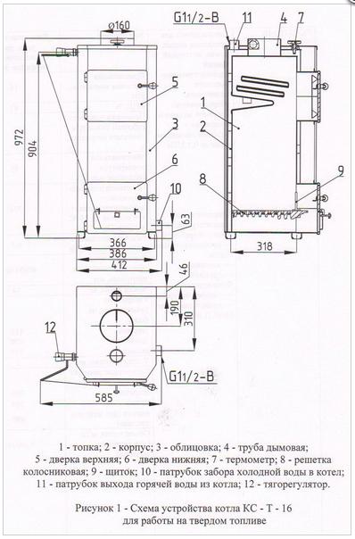 Схема котла КСТ 16